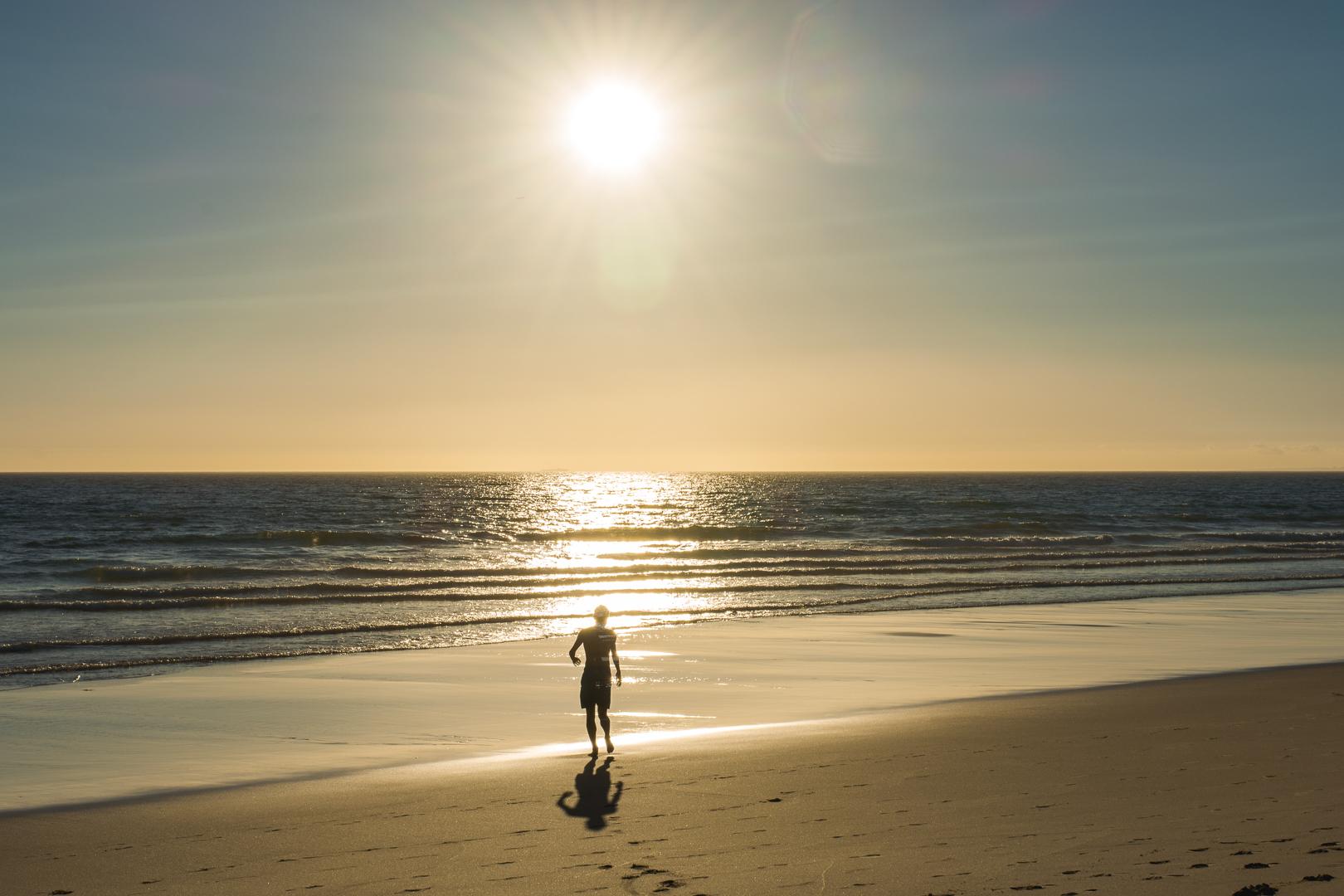 Sunset at the beach in Costa da Caparica Portugal