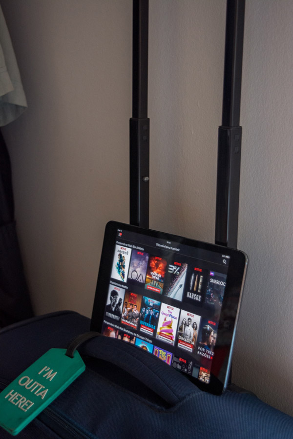 Set up to watch Netflix offline on our iPad during our travels