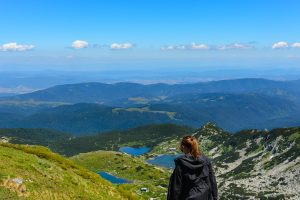 Maria looking over some of the Seven Rila Lakes in Bulgaria