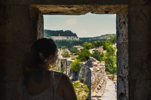 Maria looking over to Veliko Tarnovo from the Tsaravets Fortress