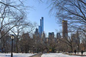 Central Park coberto de neve num solarengo dia de Inverno