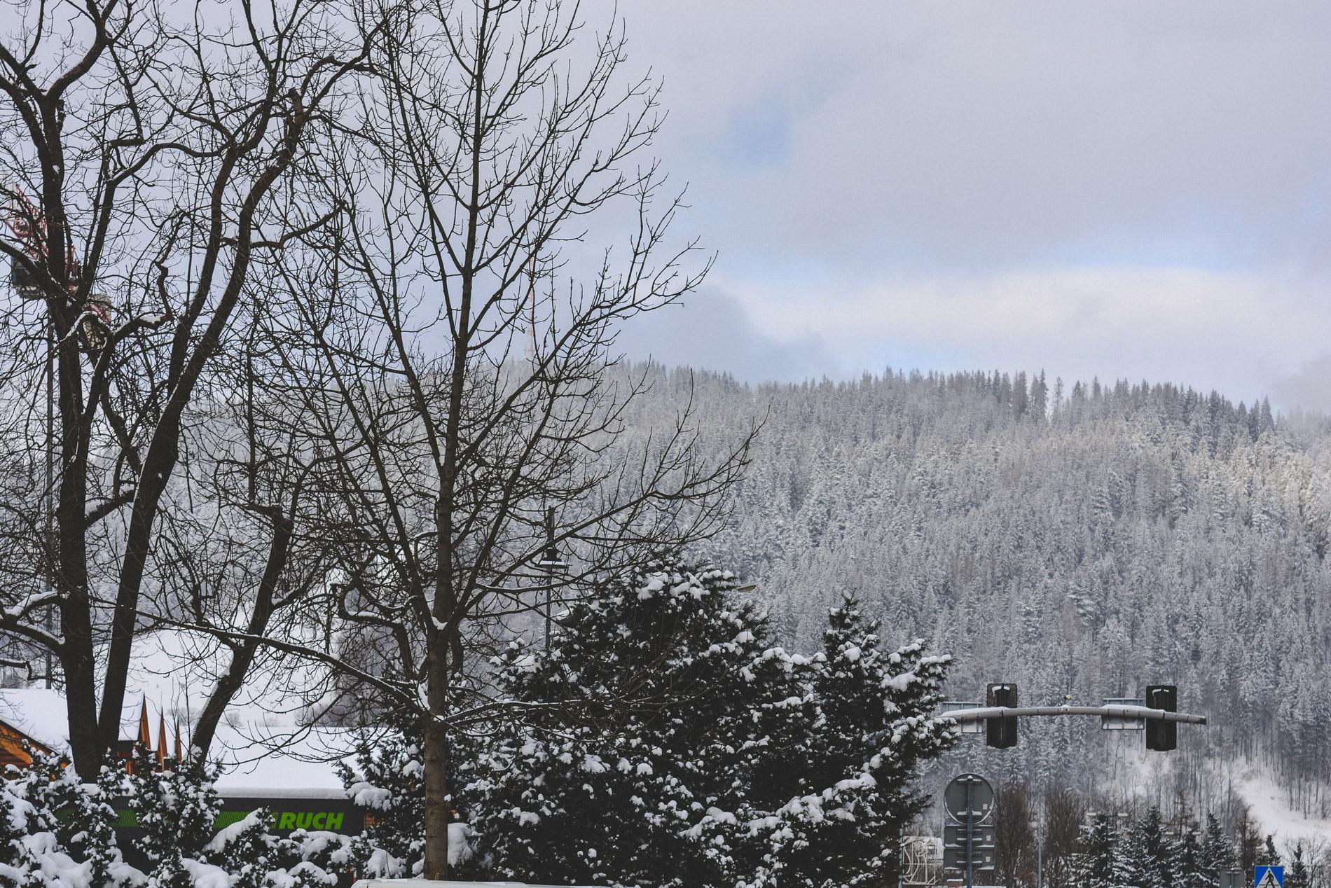 Montanhas cobertas de neve em Zakopane