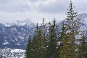 Montanhas Tatry cobertas de neve vistas do alto de Gubalowka em Zakopane