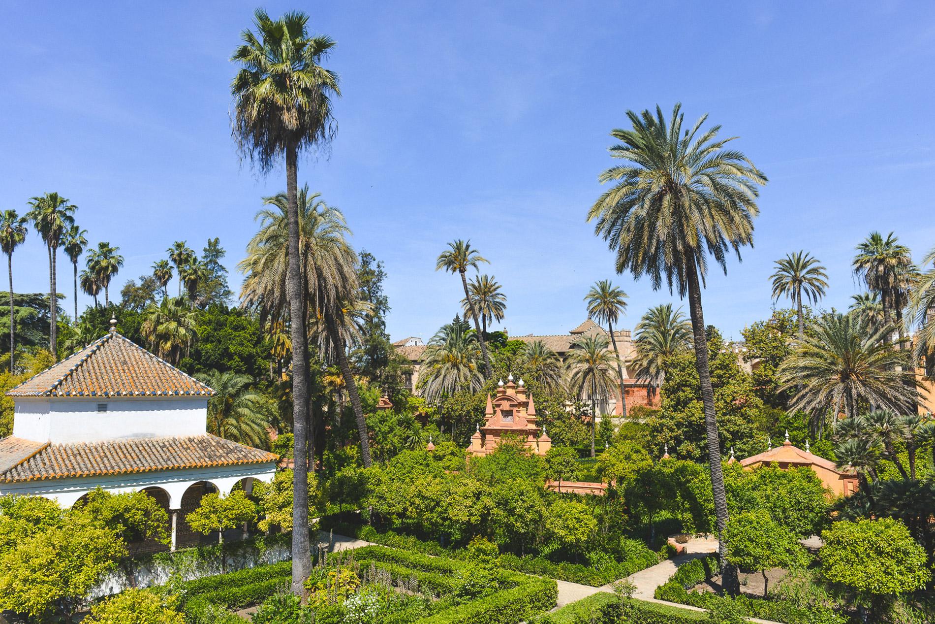 Os jardins do Alcázar em Sevilha Espanha