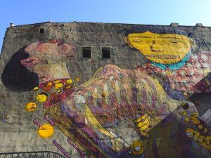 Mural numa parede em Lodz na Polónia