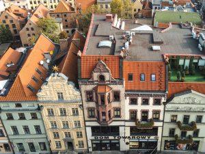 Vista sobre a Cidade Velha de Torun na Polónia