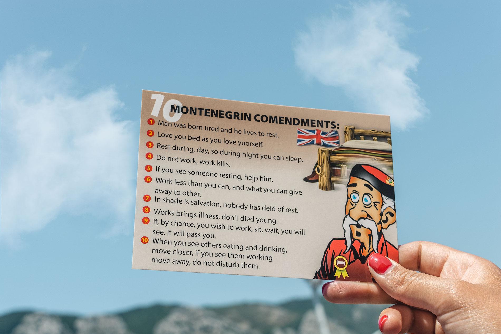 Os dez mandamentos dos montenegrinos - um postal satírico