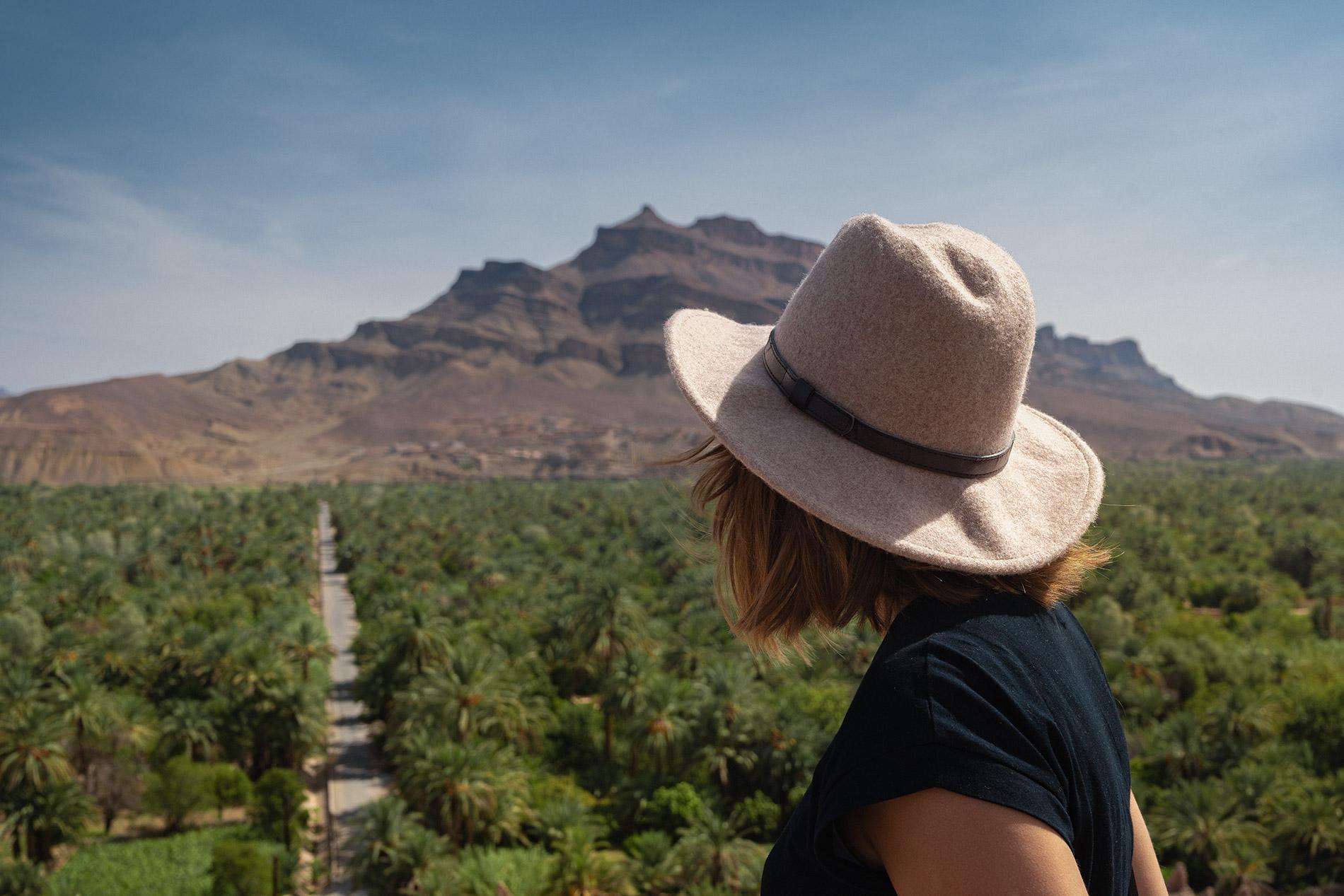 Vistas para o palmeiral do Vale do Dra em Marrocos