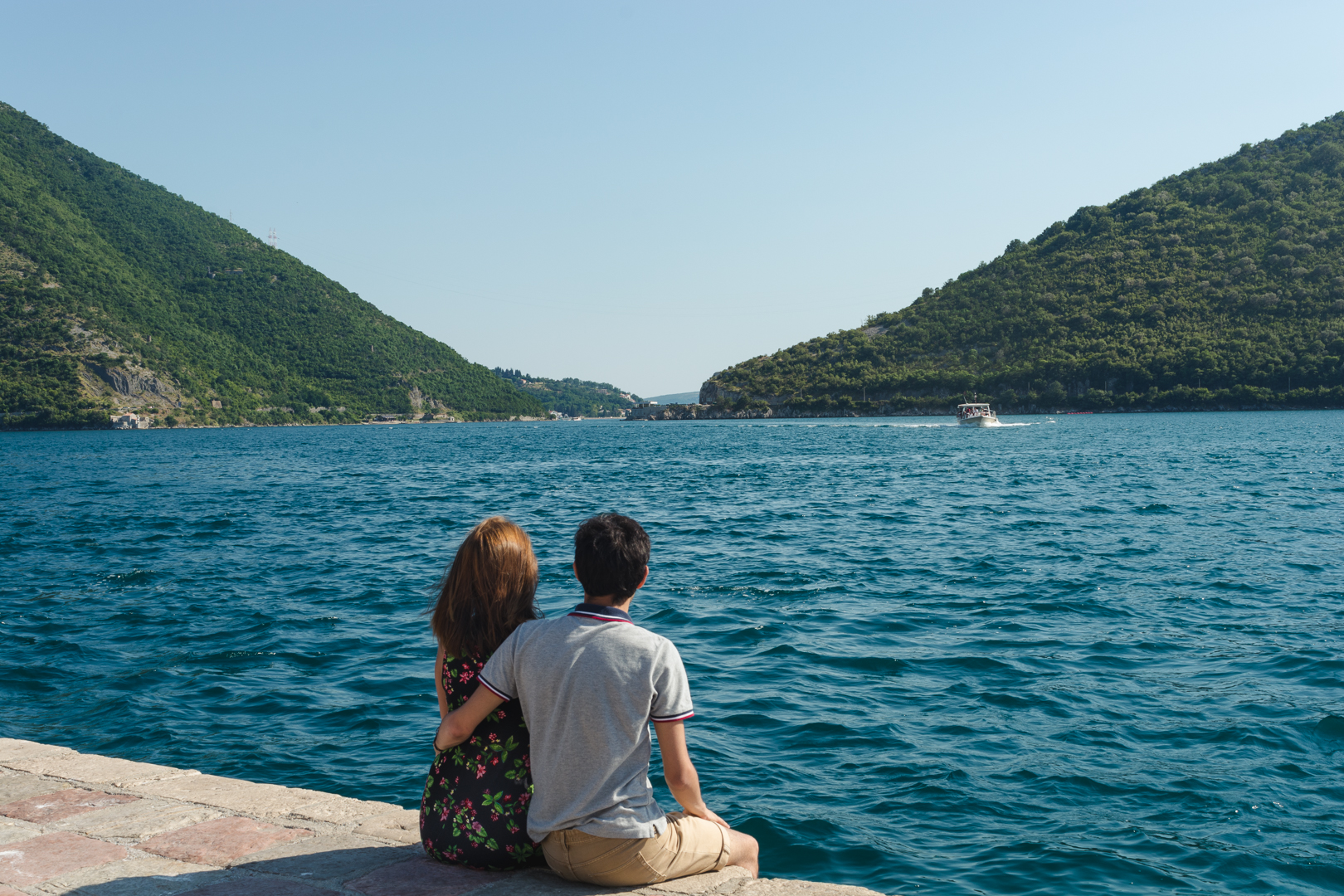 About us as we look to the ocean in Our Lady of The Rocks near Perast in Montenegro